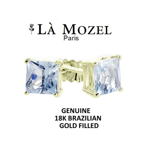 Luxurious 18K Brazilian Gold Filled 2 Carat Sky Blue Princess-Cut Stud Earrings