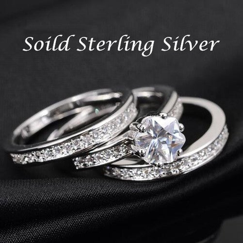 Luxurious Sterling Silver Round Ring Set For Women Wedding Ring 3PCS