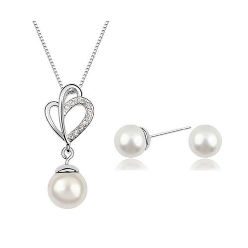 18kt White Gold Plated Pearl Drop Set