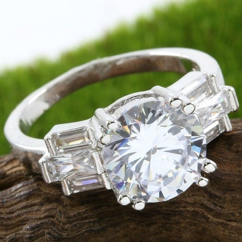 2.95ctw 14k White Gold Filled, Beautifully Created Fine White Sapphire Ring