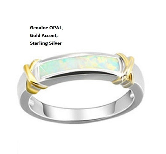 Genuine OPAL, Gold Accent, Sterling Silver