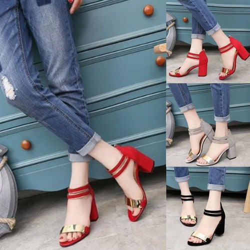 WOMENS LOW MID HEEL BLOCK PEEP TOE LADIES ANKLE STRAP PARTY STRAPPY SANDALS SIZE