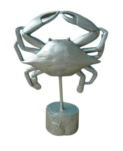Silver Crab on Stand Tabletop Figurine 9 Inches Dimensional