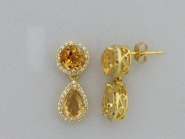 Natural Citrine with White Topaz Dangle Earrings 925 Sterling Silver