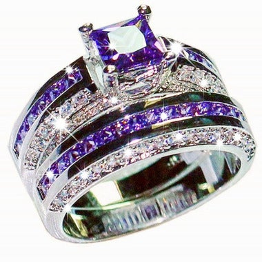 10KT White Gold Filled Princess-cut Zircon CZ Wedding Bride Rings set for Women