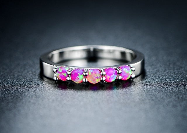 18k white gold plated brass pink lab created opal ring