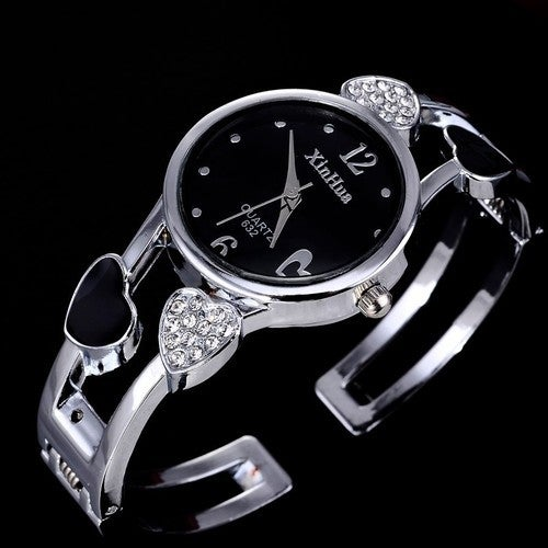 Fashion Heart-Shaped Women Bangle Watch