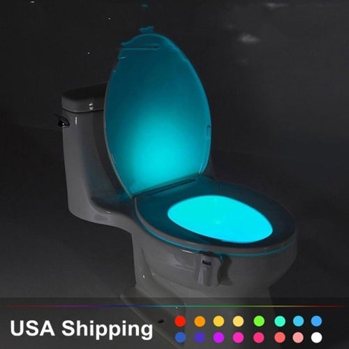 8 Colors Color Changing LED Lamps Body Washingroom Motion Bowl Toilet Nightlight Activated on/Off Lights Seat Sensor