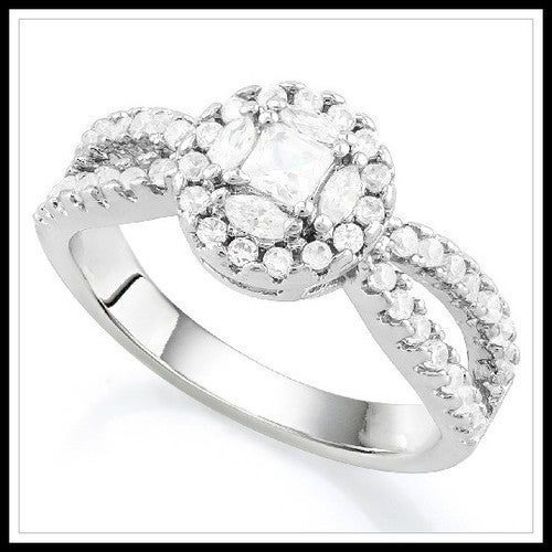 14k White Gold Filled, Beautifully Created Fine White Sapphire Ring Sm9236
