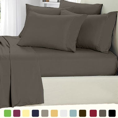 Egyptain 1800 Count bed Sheet Set Deep Pocket Multiple-Colors-Solid 6 Piece