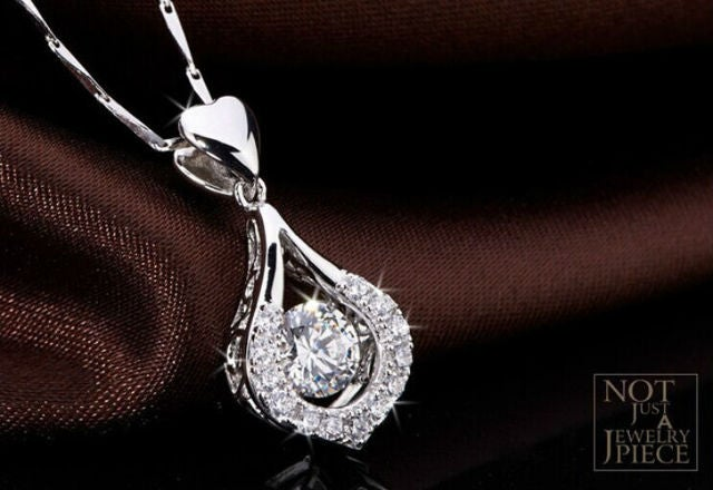 White Gold Plated Lover's Heart Necklace