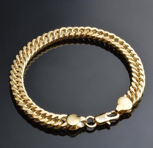 8MM Width Yellow Gold Plated Bracelet
