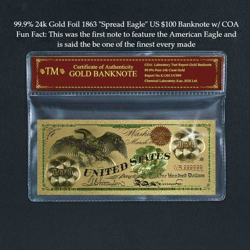 Limited 99.9% 24k Gold Foil Polymer Collectors 1863 US $100 with Certificate of Authenticity