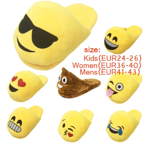 LOVELY Couple Emoji Expression Slippers Winter Warm Pajamas Home Indoor Shoes