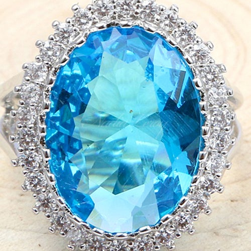 Delicate Oval-cut Sky Blue & White Topaz Sterling Silver 925 Ring