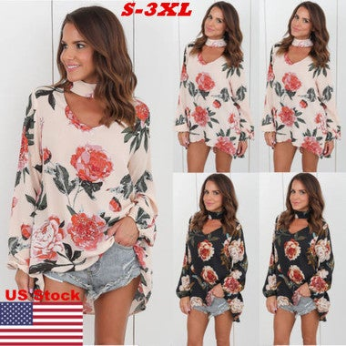 US Women Choker Neck Long Sleeve Floral Blouse Lady Long T-shirt Mini Dress Tops