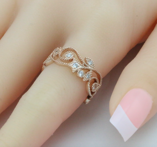 Rose Gold Floral Ring Band #539