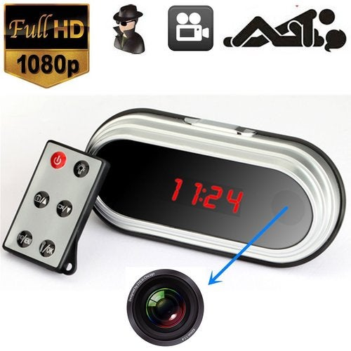 5MP HD SPY Hidden Video Camera Table Mirror Alarm Clock Mini DV DVR 1080P Motion Detection Remote Control 160 Degree