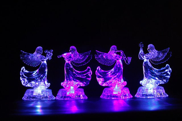 HOT SALE music colorful Christmas Angel acrylic Nightlight Christmas light music angel 4 best wedding gifts for Valentine's Day