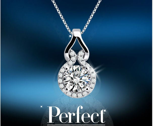 Shimmering White Gold Plated High Quality Zircon Necklace