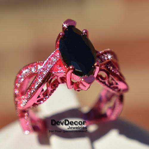 (#38) Pink Statement Ring with Black Stone