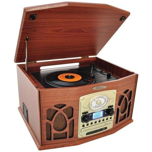 Pyle Home Ptcds7ubtbw Bluetooth(r) Retro Vintage Classic Style Turntable Vinyl Record Players With Vinyl To Mp3 Recordin