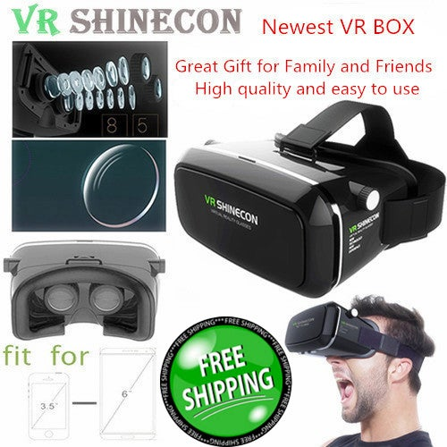 Free Shipping!!! Great Christmas Gift for Your Family and Friends!!! 3D VR Glasses Virtual Reality Headset for iPhone 7/ 7 Plus/6s/6 plus/6/5, Samsung Galaxy, Huawei, Google, Moto & More Smartphone