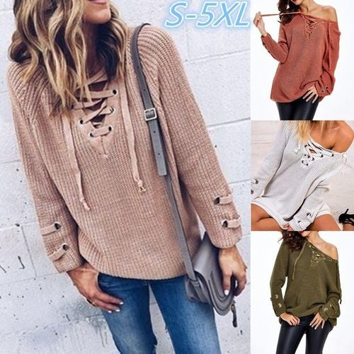 b73ad14b5c Women s Sexy Lace Up Front V Neck Long Sleeve Knit L...