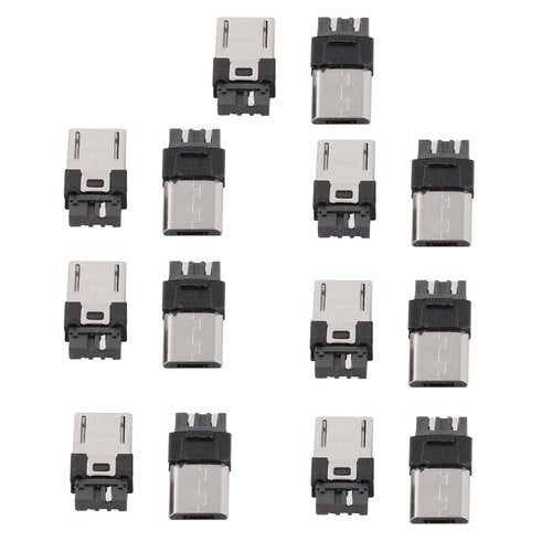 Home DIY Craft Micro USB 5 Pin Type B Male Plug Connector Solder Jack 14pcs