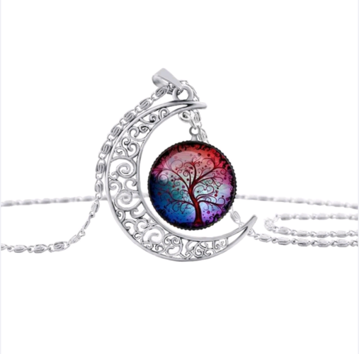 Mystic tree crescent moon necklace.