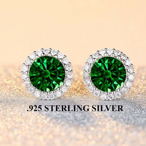 Stunning .925 Sterling Sterling Halo Lab Created Emerald Earings
