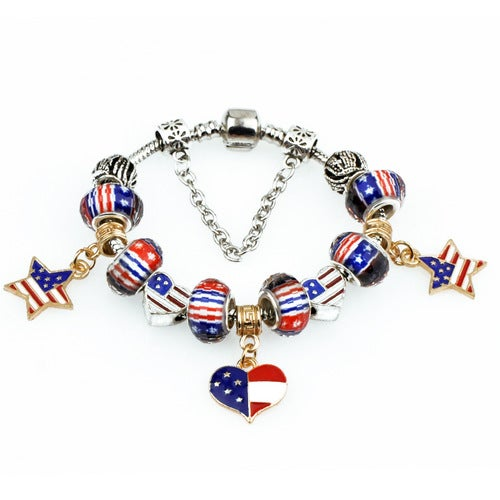 Retro USA Stylish Handmade DIY American Stars and Stripes Flag Style Women Bracelets