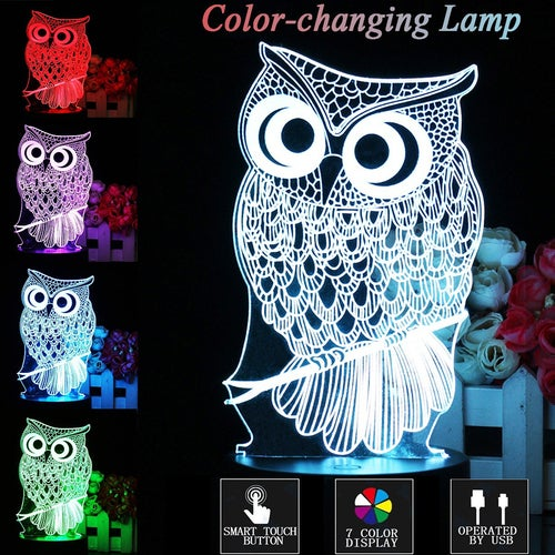 Touch 3D LED Night Light owl Animal 7 Color Change LED Table Desk Lamp Kids Xmas Gift Home decoration