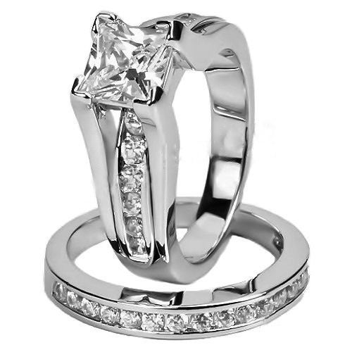 Luxury Princess Cut White Gold Plated Women Wedding Bridal Ring Set #810