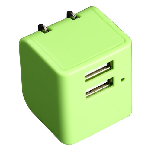 12W Dual USB wall AC Travel charger Adapter with foldable wall prong - Green