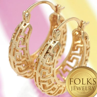Designers Love Retro Cutout  14K Gold Fiiled Hoop Earrings, Greek Key Style