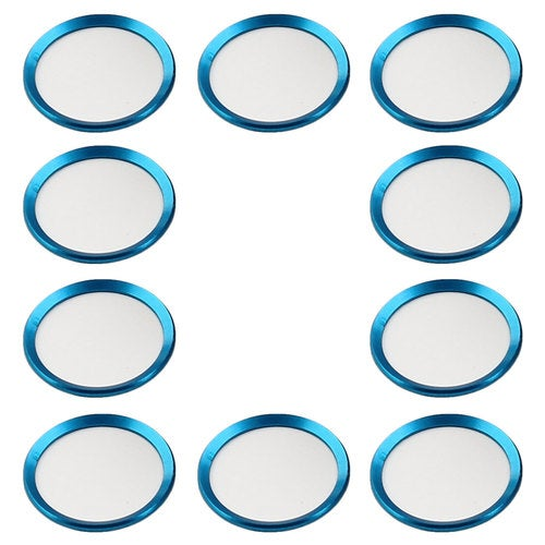 Metal Phone Home Button Sticker Ring Protector 10 PCS Blue for iPhone