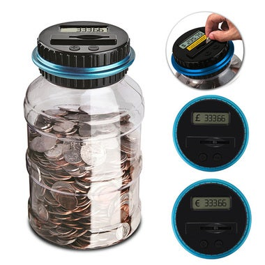Electronic Digital Piggy Bank Counting Coin LCD Money Saving Box for USD