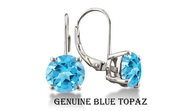 Stunning 2.00 CTTW  18K White  Gold Plated Blue Topaz Leverback Earings