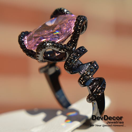 (#28) Black Ribbon Ring with Pink Stone