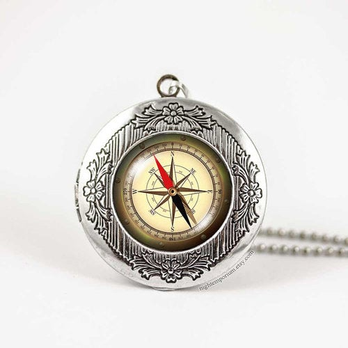 Compass World map travel bronze silver vintage locket wish photo pendant necklace holiday travel home sweet home whimsical dream traveller
