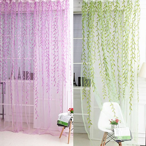 Home Tree Glass Yarn Willow Curtain Tulle Room Decor Curtain Sheer Panel Drapes