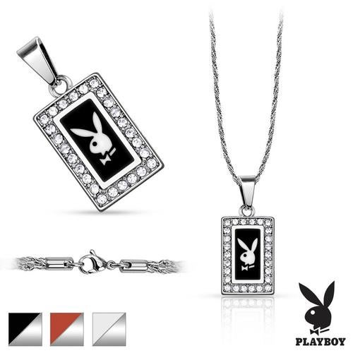 316L Stainless Steel Rope Chain with Square Playboy Logo Pavedá