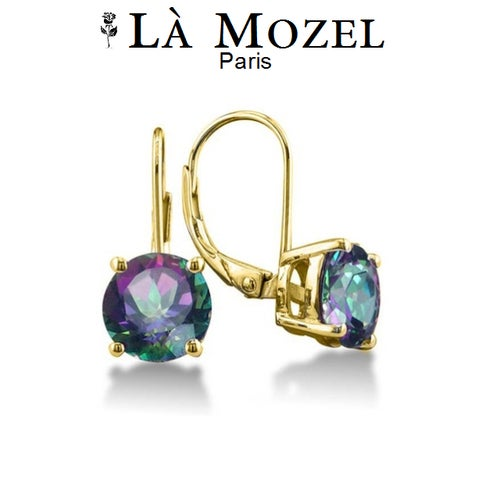 Leverback Mystic Topaz Earrings In 18k Yellow Gold Over Brass