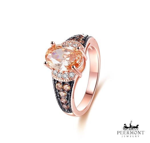 Rose Gold Plated Oval-Cut Champagne Cubic Zirconia Ring