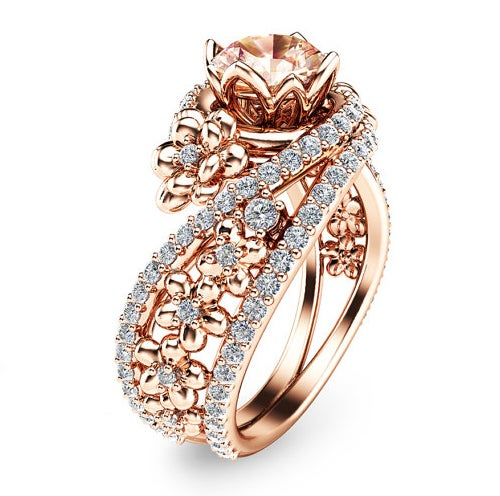 Rose Gold Color Floral Champagne CZ Women Engagement Ring #516