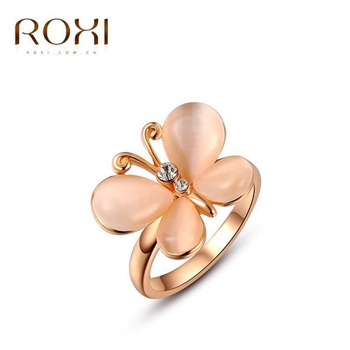 Rose Gold Opal Butterfly Ring