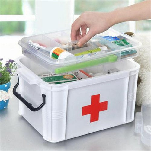 Medicine Chest Storage Box First Aid Kit Drug Home Health Two Layers