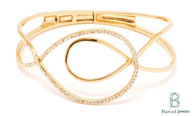 18K Gold Plated Gold and Crystal Swirl Bangle