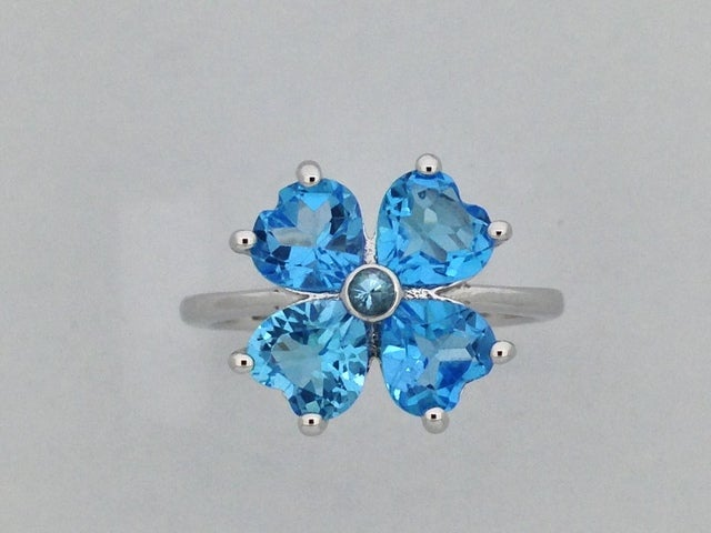 Heart Shape Natural Blue Topaz Ring 925 Sterling Silver